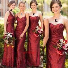 deep red bridesmaid dresses sweetheart neckline pleats mermaid mismatch dress 2019 wedding party