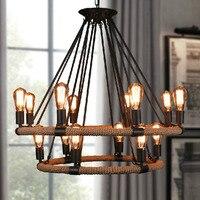 Rope chandelier Loft Industrial Retro home Decor Rustic pendant Lamp Coffee Shop Bar Restauran Rattan lamp shades chandeliers