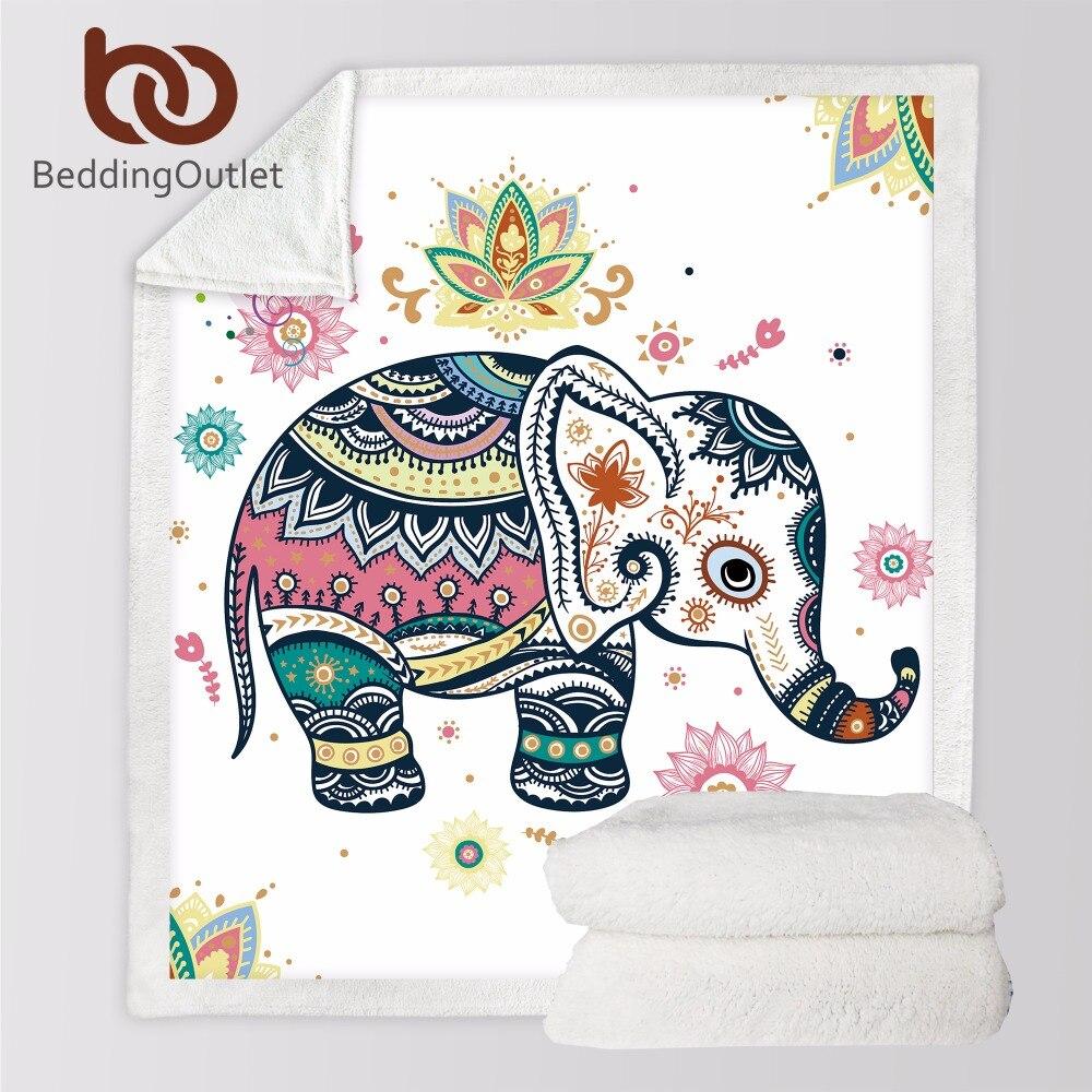 BeddingOutlet Super Weich Gemütliche Samt Plüsch Decke Regenbogen Elefanten Moderne Linie Kunst Sherpa Decke für Couch Werfen Reise