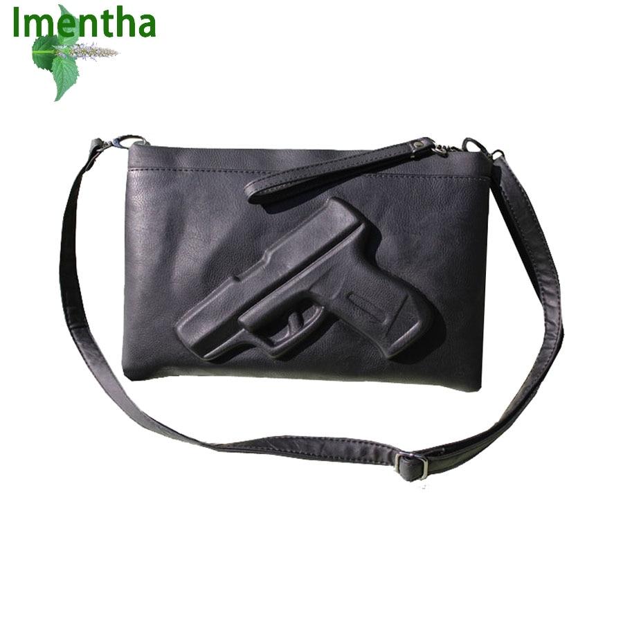 2016 3D Gun Bag Famous Brand Crossbody Bag For women Shoulder Bag Ladies Handbags Leather Clutch Messenger Bag Embossed Handbag