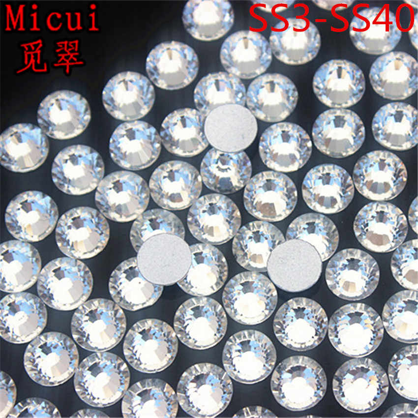 Micui SS3-SS40 Clear Rhinestones Glass crystal Flat Back Round Nail Art  Stones Non Hotfix 24095ef52bc1