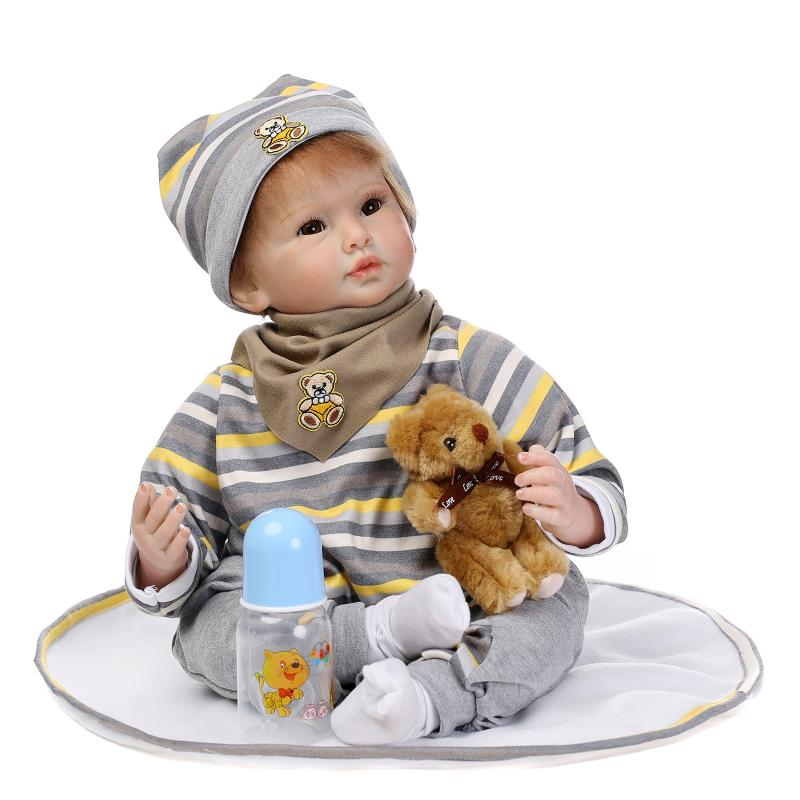 Silicone Reborn Baby Doll Toys For Girls Birthday Christmas Gifts 55cm Lifelike Boy Baby Reborn Dolls Kids Child Toy casual round collar short sleeves letter pattern t shirt for women