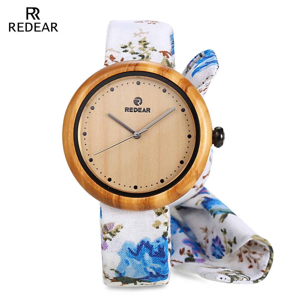 REDEAR Wood Watches Women Wooden Wristwatches With Cloth Strap Japanese Movement Quartz Watch Relogio bobo bird brand new sun glasses men square wood oversized zebra wood sunglasses women with wooden box oculos 2017