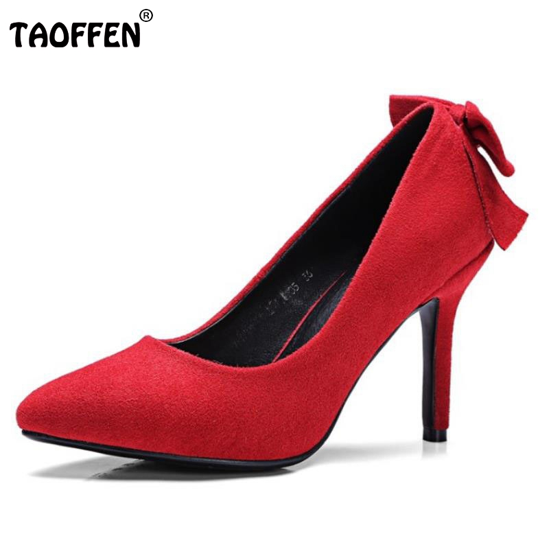 Size 32-42 Back Big Bowknot Pointed Toe High Heel Shoes Women Thin Heels Sexy Fashion Ladies Party Wedding Heeled Pumps Footwear bowknot pointed toe women pumps flock leather woman thin high heels wedding shoes 2017 new fashion shoes plus size 41 42