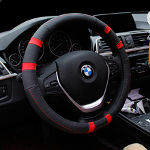 KKYSYELVA Steering Wheel Covers Universal 15 inch With Genuine Leather For Car Truck Suv Interior Accessories