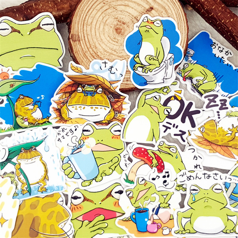 40 Pcs Cute Frog Culture Stickers For Luggage Laptop Skateboard Bicycle Motorcycle Styling Decals Fashion Cool Sticker