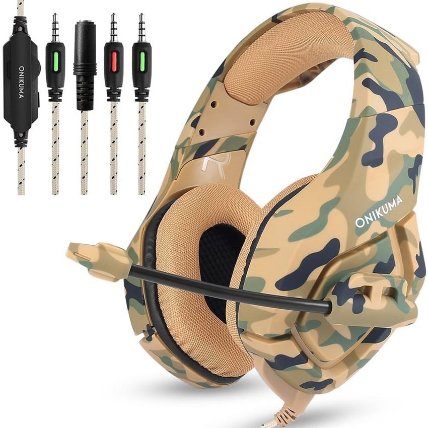 K1 ONIKUMA Camuflagem PS4 Headset Baixo Gaming Headphones Fones de ouvido de Jogos Casque com Microfone para PC Telefone Móvel Novo Xbox Um Tablet