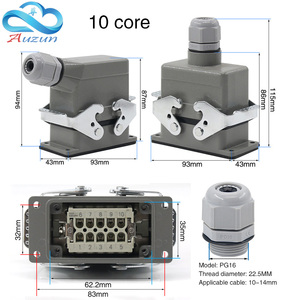 Image 2 - Heavy duty connector rectangular hdc he 4/6/10/16/20/24/32/48 core industrial waterproof aviation plug 16A top and side
