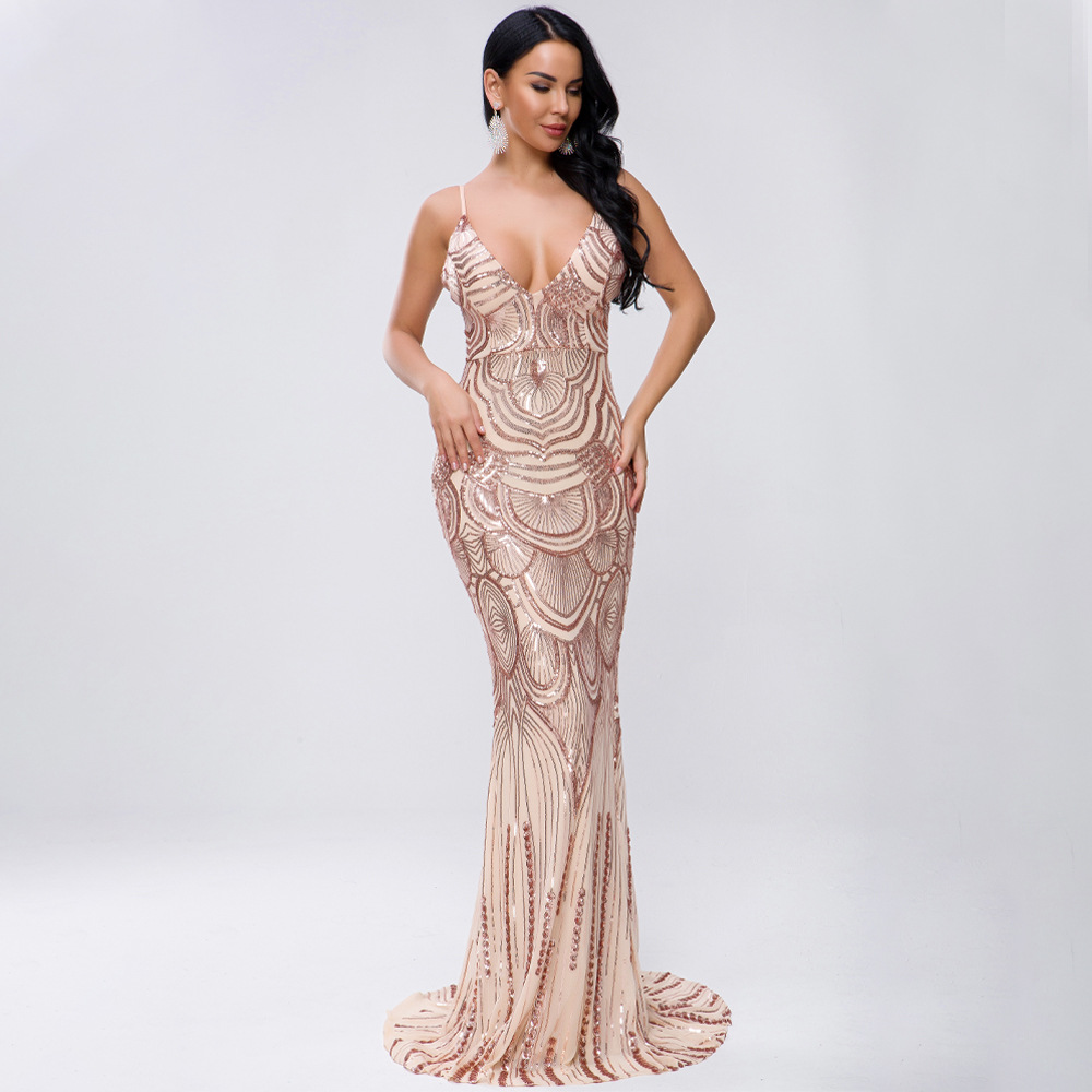 Offre spéciale mode Sexy femmes Patchwork paillettes profonde col en v corps con robe nuit Club robes de soirée en gros