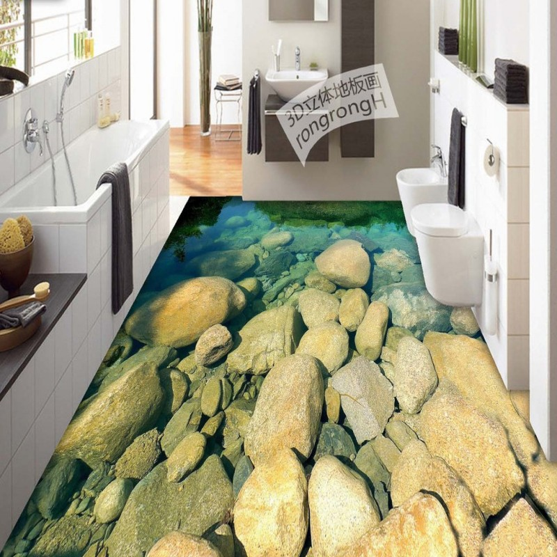 Free Shipping Clear bottomed river water pebble 3D floor painting thickened kitchen bedroom bathroom living room flooring mural free shipping flowing water making money streams falls river 3d floor painting bedroom living room bathroom wallpaper mural