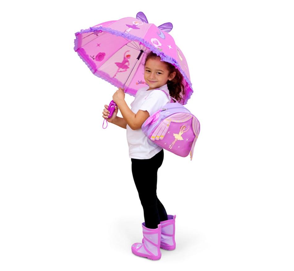 Creative 3D Umbrella Beautiful Pink 3D Cartoon Gril Child Umbrellas Kids Long Handle Umbrellas Princess For Baby Rain Gear