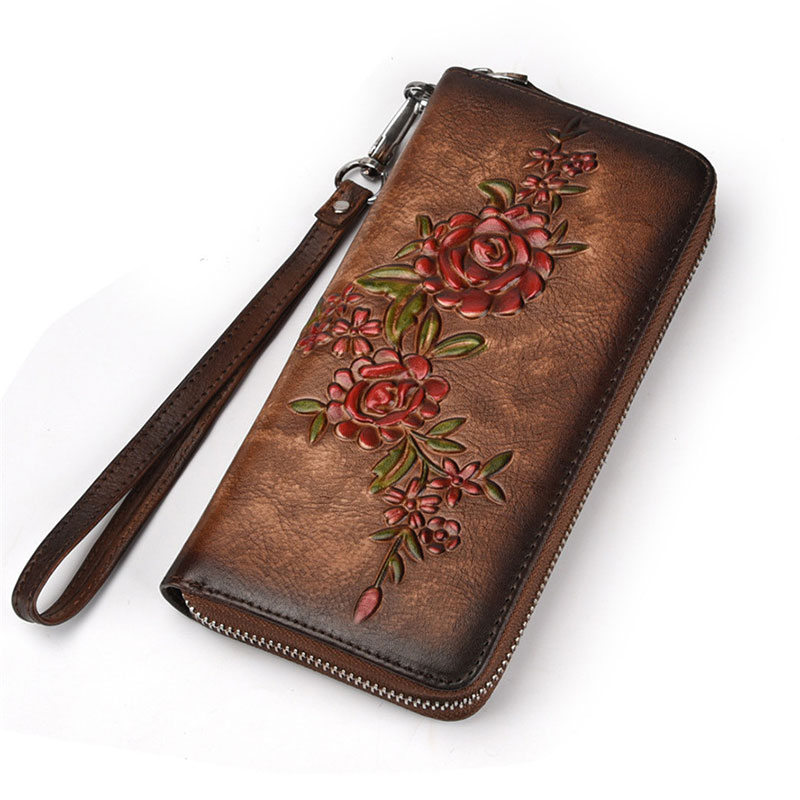 New Flower Vintage Genuine Leather Women Wallet Large Compartment Long Leather Female Clutch Purse Cellphone Bag Wallet Lady