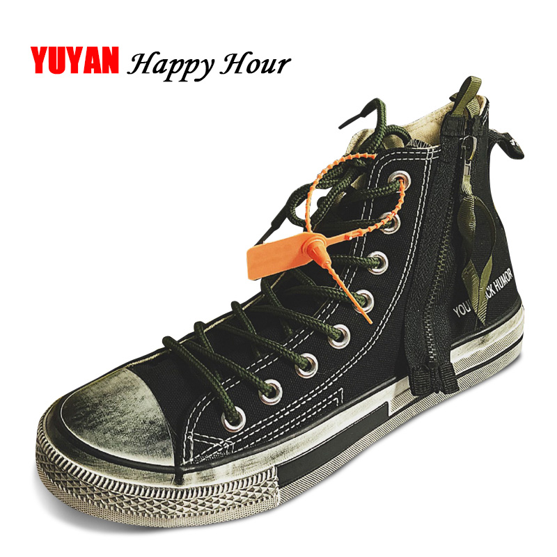 Make Old Canvas Shoes Men Fashion Sneakers Classic Brand Shoes Thick Sole High top Men's Casual Shoes Breathable Black A314 fabra new brand thick canvas
