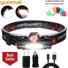 Yunmai farol poderoso xpe + cob usb, recarregável, bateria integrada, farol à prova d água, para acampamento lâmpada de luz