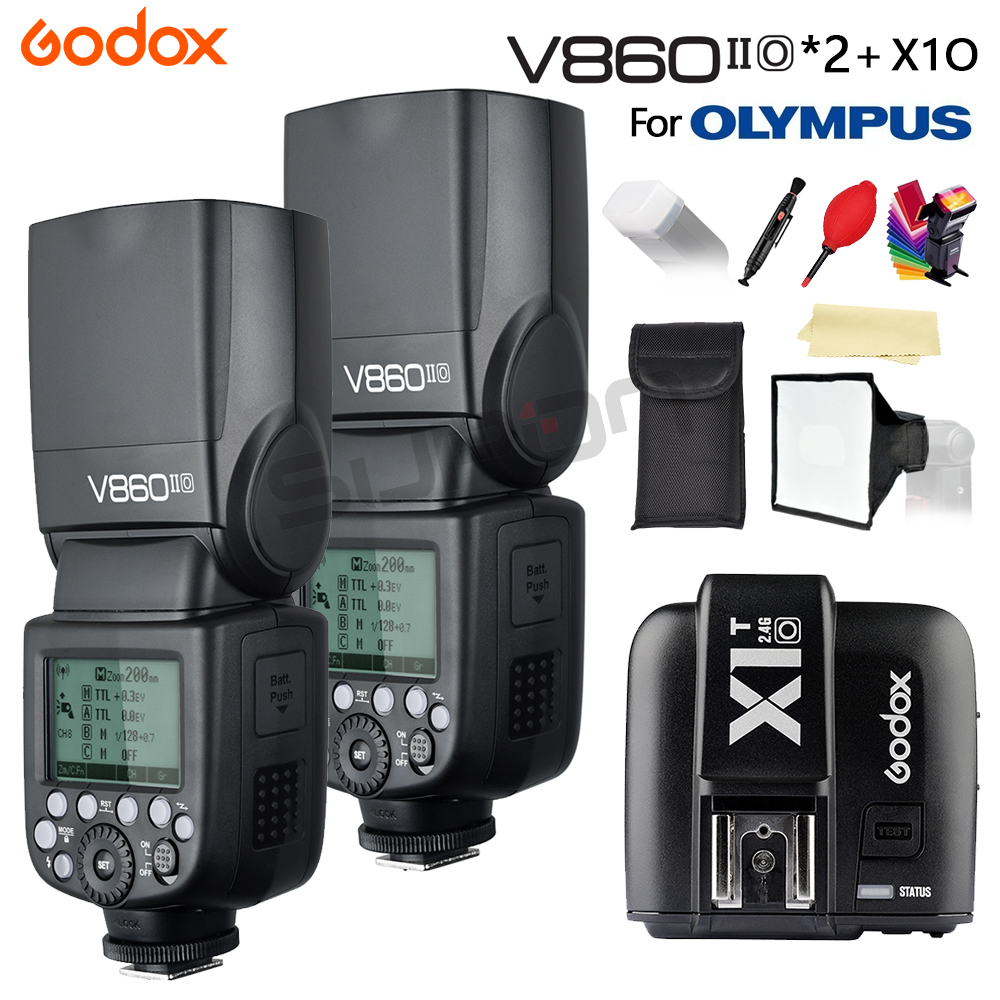 Godox Flash V860II Li-on Battery V860II-O TTL HSS 1/8000s Bateria Camera Flash Speedlite + X1T-O for Olympus + Gifts