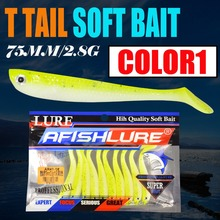 10pcs/lot Soft Bait Fish 75mm 2.8g Fishing Lure TT Shad Silicone Bass Minnow Bait Swimbaits Plastic Lure Pasca Leurre Soft Lure