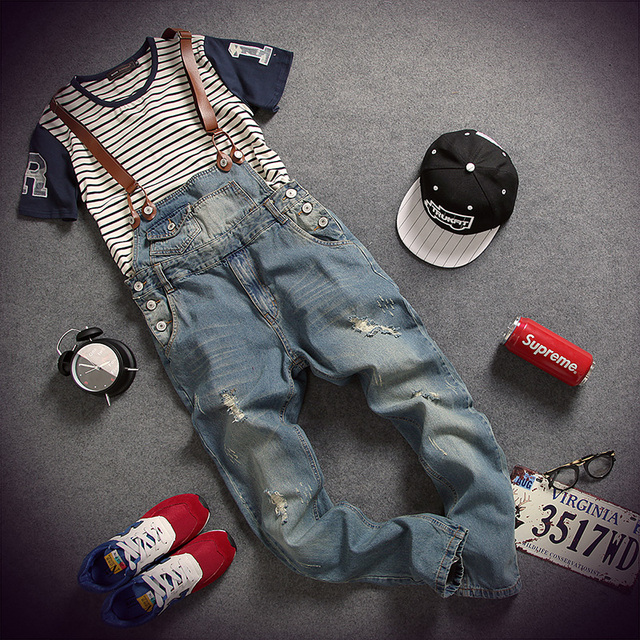 b90ac17fa5ca England Classic Mens Denim Overalls Regular Straight Male Ripped Jeans  Jumpsuit Pants With Suspender Salopette Homme