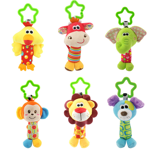 Baby Rattles Toys Stroller Hanging Soft Toy Cute Animal Doll Baby Crib Bed Hanging Bells Toys Elephant Rabbit Dog