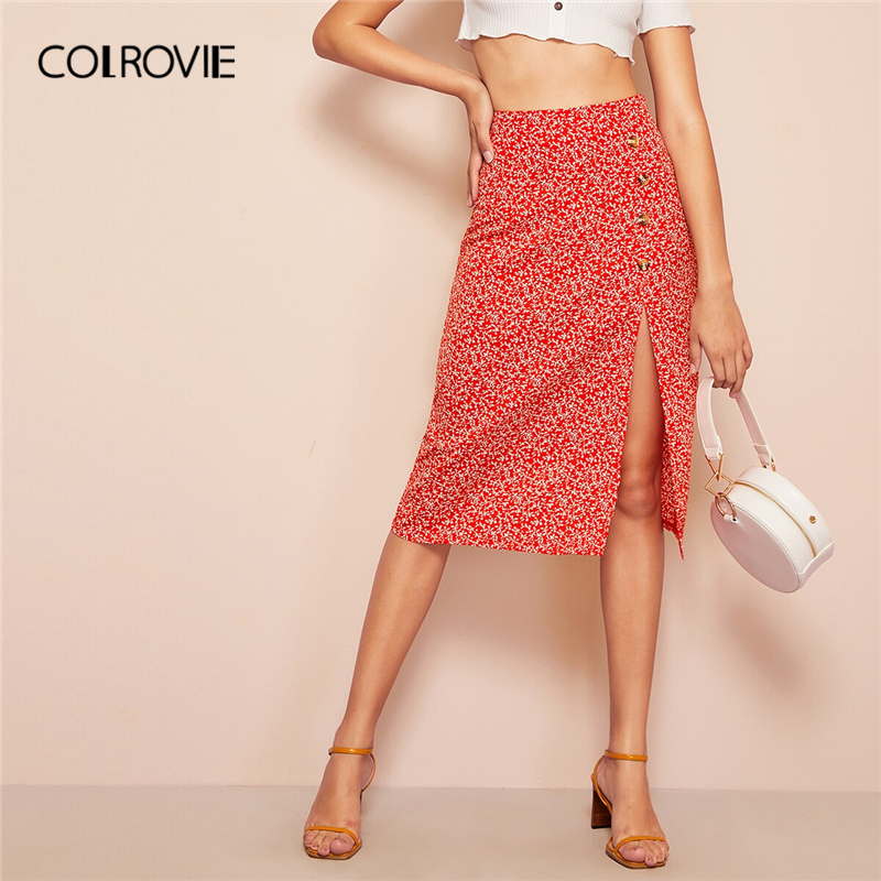 COLROVIE Red Button Slit Front Calico Ditsy Floral Print Boho Midi Skirt Women 2019 Summer Vacation Holiday Ladies Skirts