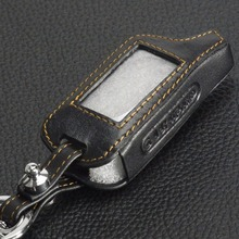 4 Buttons Leather Key Cover Case X5 For Russian Version Vehicle Security Two Way Car Alarm System TOMAHAWK Keychain