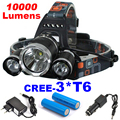 3T6 10000Lumens 5-Modes CREE XML 3* T6 LED Headlight Headlamp Lamp Light Torch Camping Fishing Flashlight Hunting