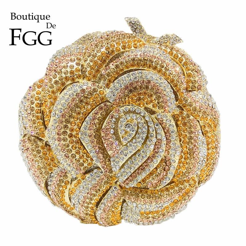 Boutique De FGG Multi Crystal Blooming Flower Clutch Handbag Women Evening Purse Metal Wedding Prom Minaudiere