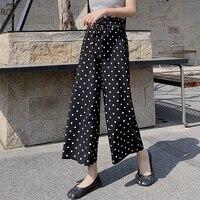 2019 Women Chiffon Pants Summer High Waist Wide Leg Pant Female Lace Up Loose Holiday Print Dot Ankle Length Pants Trousers