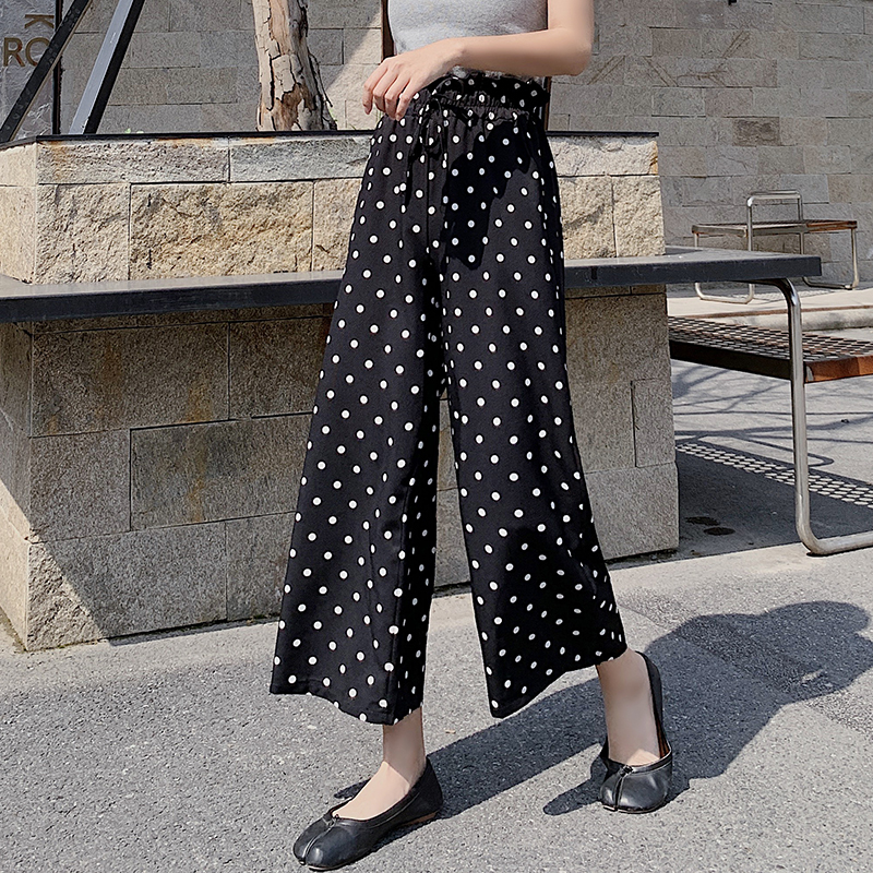 2019 Women Chiffon   Pants   Summer High Waist   Wide     Leg     Pant   Female Lace Up Loose Holiday Print Dot Ankle-Length   Pants   Trousers