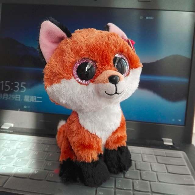 Wholesale 10PCs 15CM BIG EYE Slick Fox TY BEANIE BOOS brown fox Plush Toys  Stuffed animals 6c82fcb278a6
