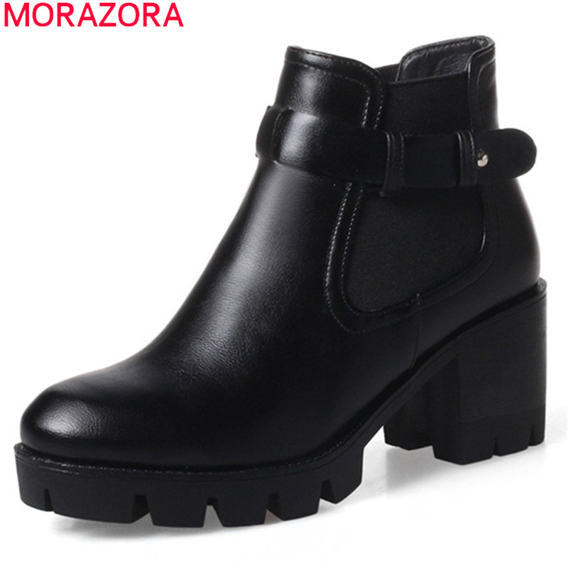 MORAZORA black brown women boots autumn winter buckle platform ladies ankle boots high quality pu square heel big size 34-43 save 20