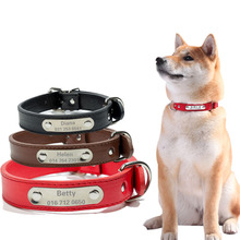 Creative Customized Leather Dog Collar Durable Padded Personalized Pet ID Collars PU Carving Puppy Cat Leash Nameplate Engraved