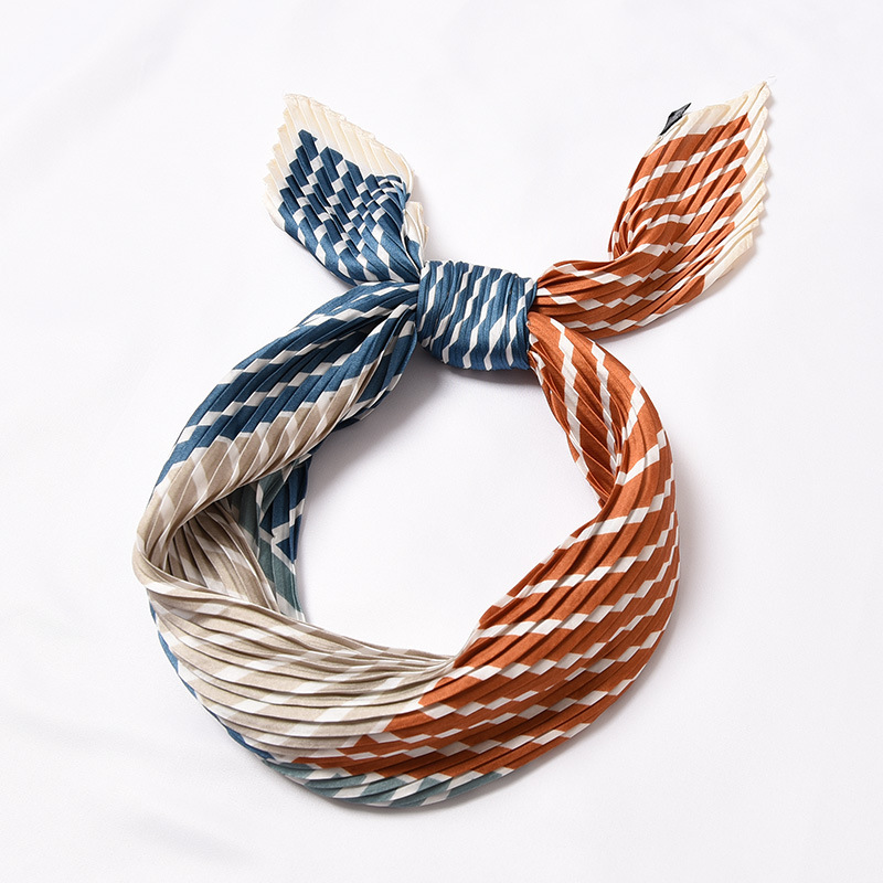 Pleated silk headscarf print Foulard versatile wrinkle scarf exquisite fashion decorative headscarf size55 55cm in Women 39 s Scarves from Apparel Accessories