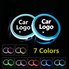2X Car Logo Light LED Cup Drink Holder Anti Slip For BMW Volkswagen Jaguar Maserati Ford Chevrolet kIA Mitsubishi Accessories(China)