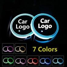 2X soporte de taza de luz LED con Logo para coche antideslizante para BMW Volkswagen Jaguar Maserati Ford Chevrolet kIA Mitsubishi Accesorios