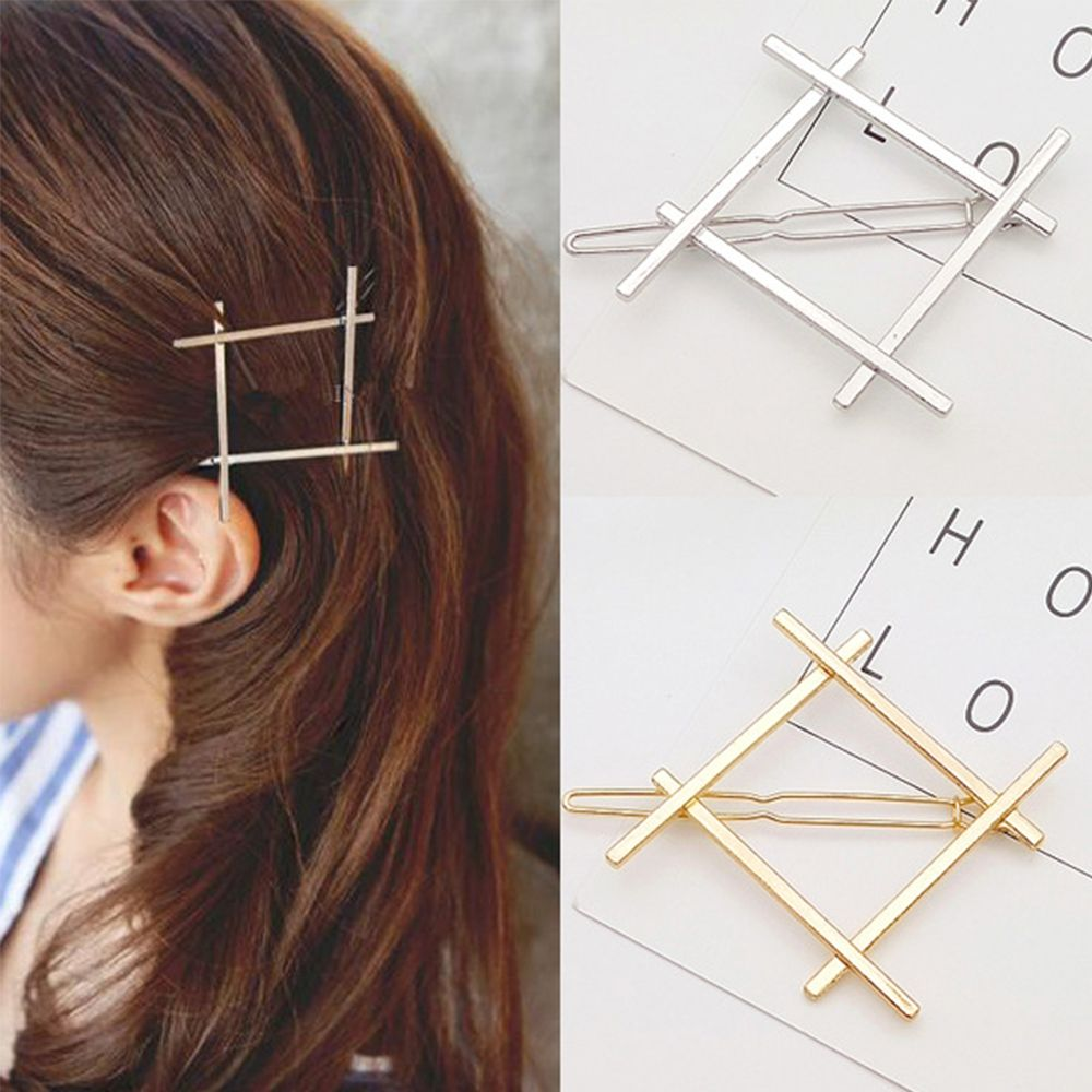 1 PC Delicate Simple Geometry Hair Clip Fashion Square Alloy Gold Silver Hair Pin For Women Girls Hair Jewelry Accessories