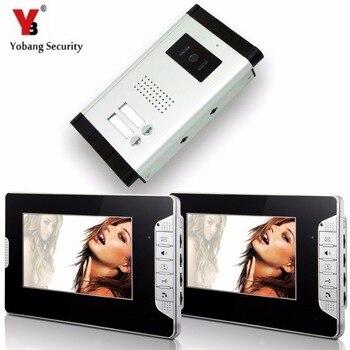 "YobangSecurity 2 Units Apartment Video Intercom 7""Inch Monitor Video Doorbell DoorPhone Speakphone Intercom Home Security System"