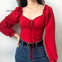 Женская винтажная милая блузка с вырезом и оборкой, эластичный Топ с пышными рукавами