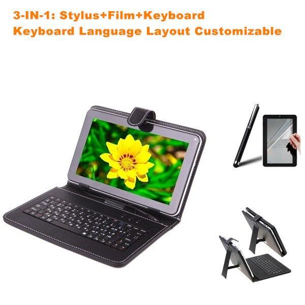 3-В-1 Стилус + Пленка + 8 дюймов Micro USB Клавиатура для Prestigio Multipad 4 Pmt5487 3G Клавиатура Case