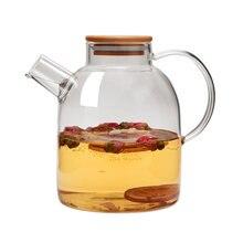 Термостойкий кувшин 1800 мл стеклянный чайник с бамбуковой крышкой
