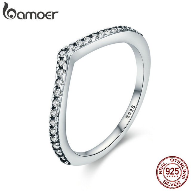 BAMOER 100% 925 Sterling Silver Water Droplet Clear CZ Finger Rings for Women Wedding Engagement Jewelry Girlfriend Gift PA7649 2