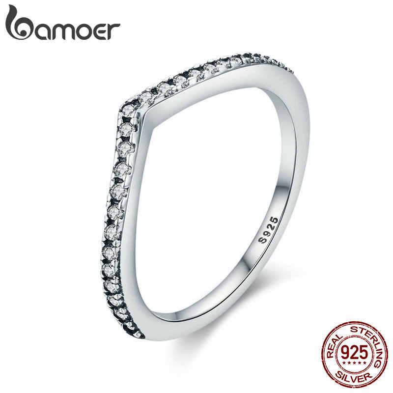 Bamoer 100% 925 prata esterlina gota de água clara cz anéis de dedo para mulheres casamento noivado jóias namorada presente pa7649