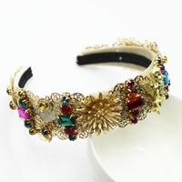 Vintage Baroque Headband Jewel Woman Diamond Hair Accessories Pearl Crystal Head Band Gold Metal Crown Ladies Jewelled Hair Band
