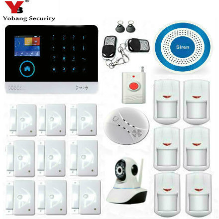 YobangSecurity IOS Android App Touch keypad GSM WIFI Home Security Alarm System Kit with Wireless IP Camera Siren Smoke Detector yobangsecurity touch keypad wifi gsm gprs home security voice burglar alarm ip camera smoke detector door pir motion sensor