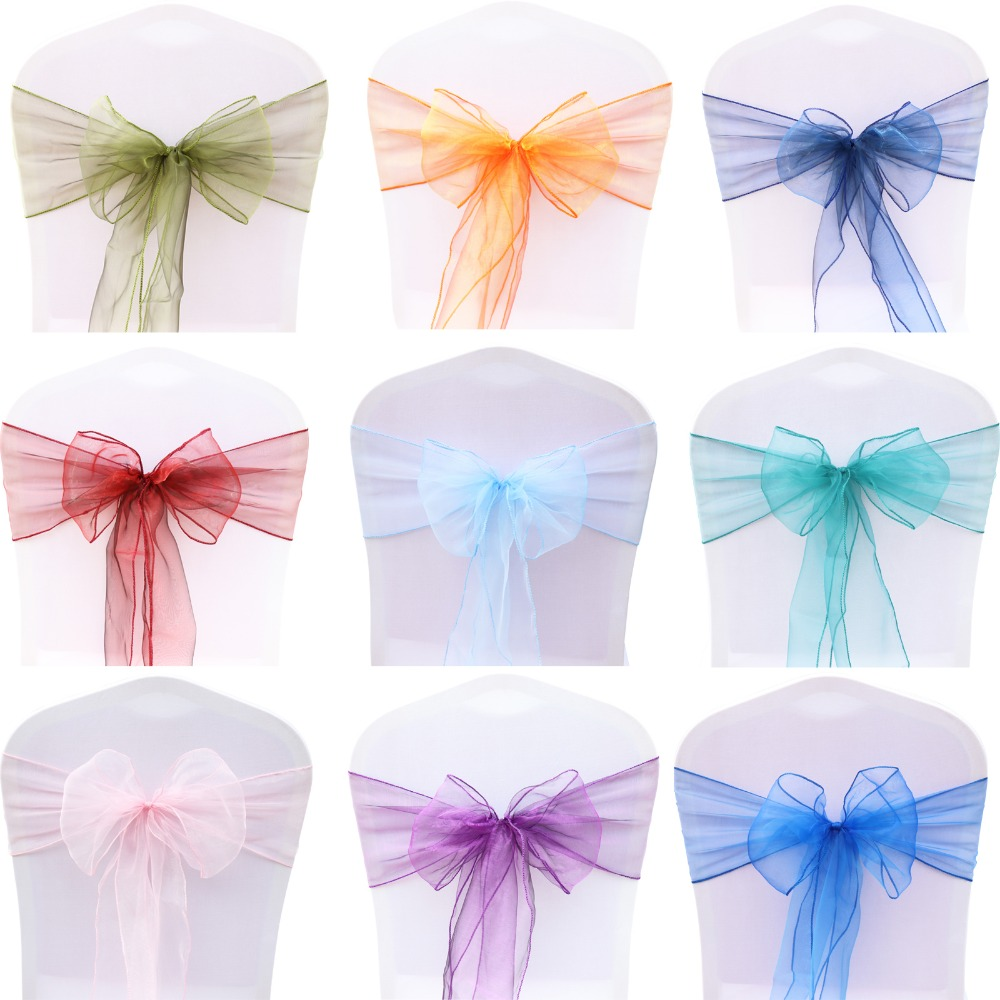 1Pcs Organza Knot Wedding Chairs Cover Bow Decoration Chair Sashes Bands Chair Belt Ties For Weddings Party Hotel Banquet Decor