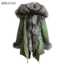 New winter army green jacket women outwear thick parkas natural real sliver fox fur collar rabbit coat hooded pelliccia 3XL