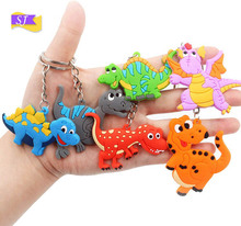 6pcs New creative dinosaur keychain metal fashion PVC silicone pendant small gifts