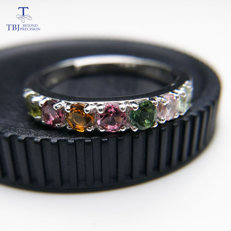 TBJ,Simple and elegant natural fancy color tourmaline Ring in 925 sterling silver fine jewelry for girl as fashion gift with box gifted set 26pcs iron box gift tools in fancy and portable silver tone box