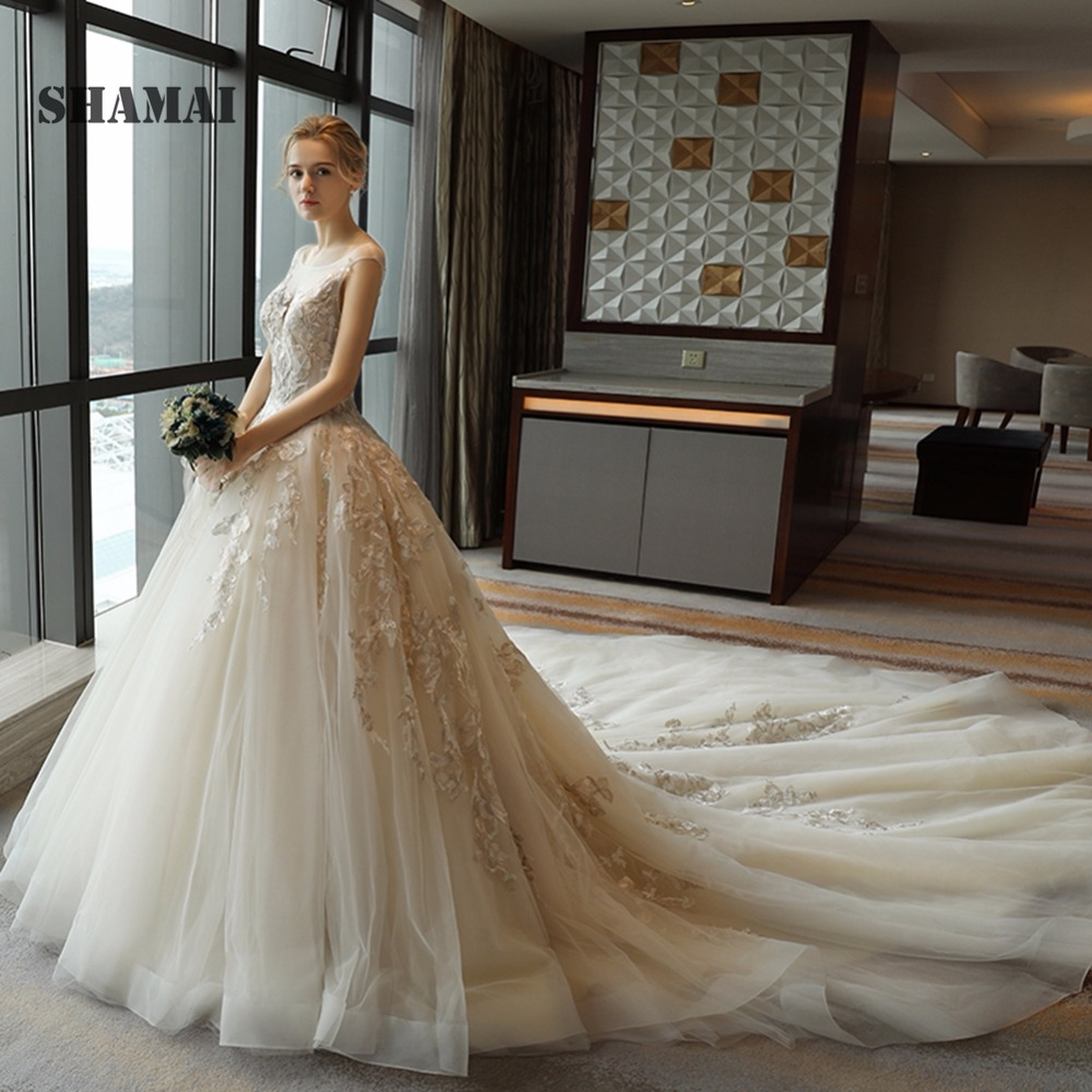 2019 Wedding Ball Gowns: 2019 Ball Gown Wedding Dresses Lace Appliques Sexy Scoop