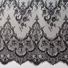 3M long  hot selling in best price eyelash chantilly lace traditional wedding lace fabric white ivory Table Cloth DIY Crafts