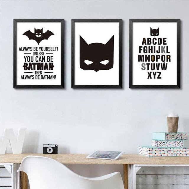 Modern Nordic Batman Quote Canvas Art Print Poster Wall Pictures For Living  Room,black And
